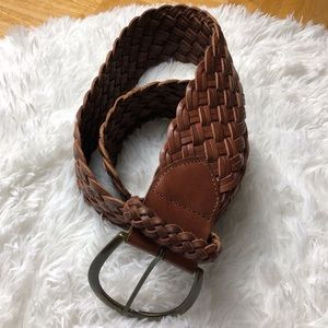 Express Woven Brown Leather Belt Size Small